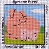 Canevas à broder ENFANT 15 x 15 cm marque ROYAL PARIS thème de Muriel Revenu le cochon fabrication française