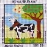 Canevas à broder ENFANT 15 x 15 cm marque ROYAL PARIS thème de Muriel Revenu la vache fabrication française