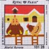 Canevas à broder ENFANT 15 x 15 cm marque ROYAL PARIS thème de Muriel Revenu les poules fabrication française