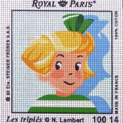 Canevas à broder ENFANT 15 x 15 cm marque ROYAL PARIS thème de N.Lambert LES TRIPLES fabrication française