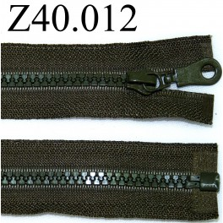fermeture éclair verte  longueur 40 cm couleur vert kaki  séparable zip nylon largeur 3,2 cm largeur du zip moulé 6 mm