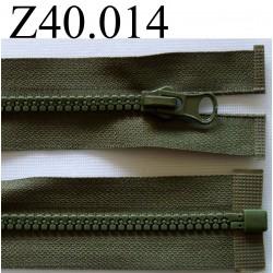 fermeture éclair verte  longueur 40 cm couleur vert kaki  séparable zip nylon largeur 2,7 cm largeur du zip moulé 4.5 mm