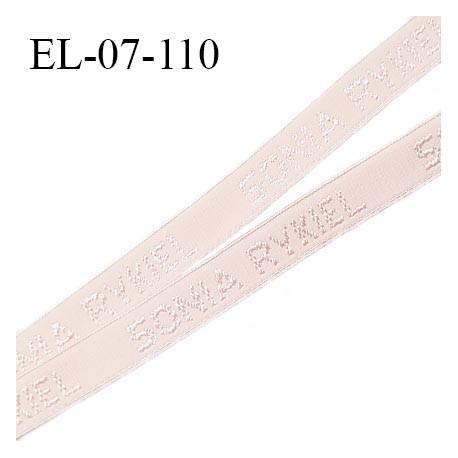 Elastique lingerie 07 mm très haut de gamme élastique souple couleur rose pétale inscription Sonia Rykiel prix au mètre