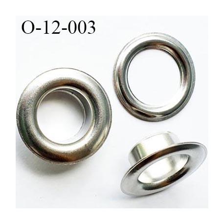Oeillet en métal couleur chromé diamètre extérieur 11.5 mm diamètre intérieur 6.5 mm hauteur 5.5 mm
