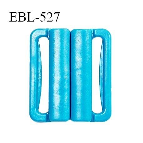 Boucle clip 25 mm attache réglette pvc spécial maillot de bain couleur turquoise largeur passage intérieur 25 mm prix à l'unité