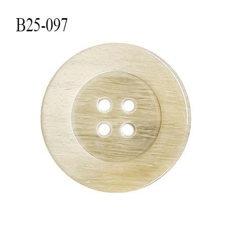 Bouton 25 mm en pvc couleur beige 4 trous diamètre 25 mm épaisseur 4 mm prix à la pièce