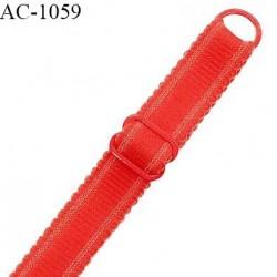 Bretelle 20 mm lingerie SG haut de gamme couleur rouge garance finition avec 1 barrette 1 anneau longueur 31 cm prix à la pièce