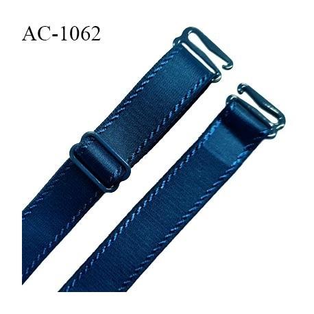Bretelle lingerie SG 16 mm très haut de gamme couleur bleu paradis avec 1 barrette + 2 crochets longueur 39 cm prix à l'unité