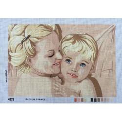 Canevas à broder 40 x 60 cm thème MAMAN ET SON ENFANT made in France