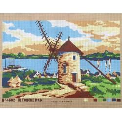 Canevas à broder 40 x 60 cm thème le moulin retouché à la main made in France