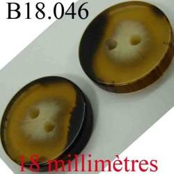 bouton 18 mm couleur marron foncé et clair transparent 2 trous diamètre 18 mm