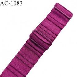 Bretelle lingerie SG 20 mm très haut de gamme couleur magenta brillant avec 2 barrettes longueur 32 cm prix à l'unité