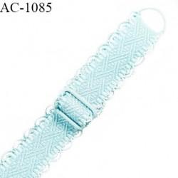 Bretelle lingerie SG 14 mm très haut de gamme couleur bleu lagon brillant longueur 40 cm prix à l'unité