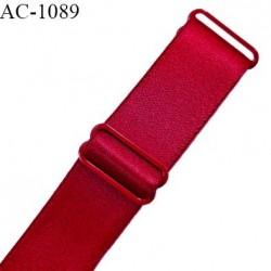 Bretelle lingerie SG 24 mm très haut de gamme couleur rouge tentation brillant avec 2 barrettes longueur 37 cm prix à l'unité