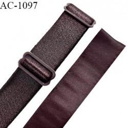 Bretelle lingerie SG 16 mm très haut de gamme couleur marron brillant avec 2 barrettes longueur 32 cm prix à l'unité