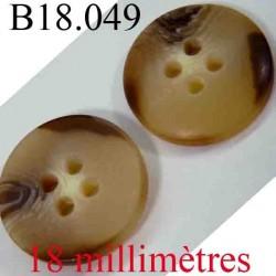 bouton 18 mm couleur marron et marron clair 4 trous diamètre 18 mm