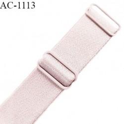 Bretelle lingerie SG 19 mm très haut de gamme couleur gris rosé brillant avec 2 barrettes longueur 37 cm prix à l'unité