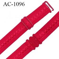 Bretelle lingerie SG 16 mm très haut de gamme couleur rouge avec 1 barrette + 1 crochet + 1 boucle clip