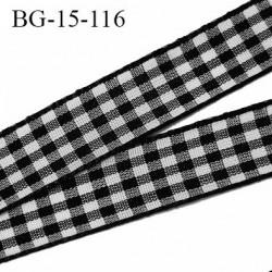 Biais galon 15 mm couleur noir et blanc vichy synthétique largeur 15 mm prix au mètre