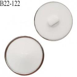Bouton 22 mm très beau dôme en pvc couleur blanc et argent accroche avec un anneau épaisseur 11 mm prix à l'unité
