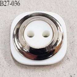 Bouton pvc couleur blanc et chromé diamètre 27 mm prix à la pièce