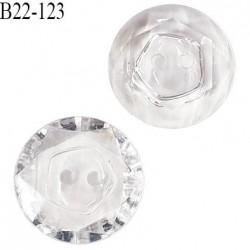 Bouton 22 mm pvc effet cristal 2 trous diamètre 22 mm épaisseur 4 mm prix à l'unité