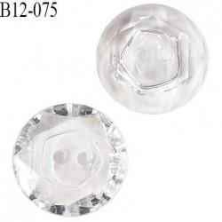 Bouton 12 mm effet cristal 2 trous diamètre 12 mm épaisseur 4 mm prix à l'unité