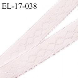 Elastique 17 mm haut de gamme couleur rose jasmin avec motif en surpiqûre fabriqué en France largeur 17 mm prix au mètre