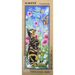Canevas à broder 25 x 60 cm marque SEG de Paris thème LE CHAT l'oiseau de bois fabrication française