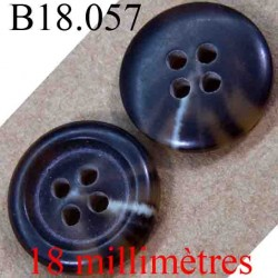 bouton 18 mm couleur marron clair et marron très foncé marbré 4 trous diamètre 18 mm