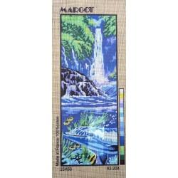 Canevas à broder 25 x 60 cm marque MARGOT de Paris thème LA CASCADE fabrication française