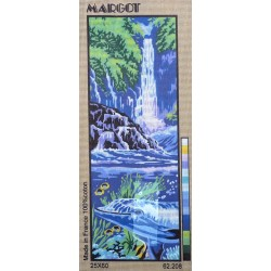 Canevas à broder 25 x 60 cm marque ROYAL PARIS thème LE DAUPHIN LE LAGON fabrication française