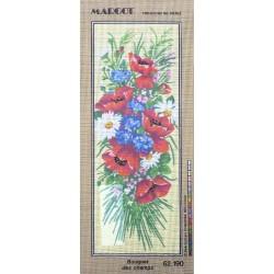 Canevas à broder 25 x 60 cm marque MARGOT thème BOUQUET DES CHAMPS fabrication française