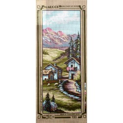 Canevas à broder 25 x 60 cm marque MARGOT thème VILLAGE DE MONTAGNE fabrication française