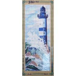 Canevas à broder 25 x 60 cm marque SEG de Paris thème le phare fabrication française