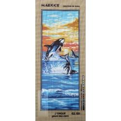 Canevas à broder 25 x 60 cm marque MARGOT thème L'ORQUE géant des mers fabrication française