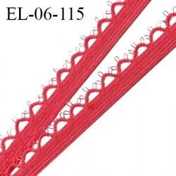 Elastique picot 6 mm lingerie haut de gamme fabriqué en France élastique souple couleur coquelicot prix au mètre