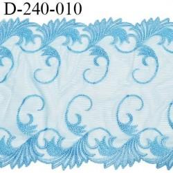 Dentelle broderie 24 cm très haut de gamme extensible largeur 24 cm couleur bleu très belle prix pour un mètre