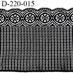 Dentelle 22 cm lycra brodée très haut de gamme largeur 22 cm couleur noir fabriqué en France bandes jacquard prix au mètre