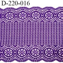 Dentelle 22 cm lycra brodée très haut de gamme largeur 22 cm couleur violet fabriqué en France bandes jacquard prix au mètre