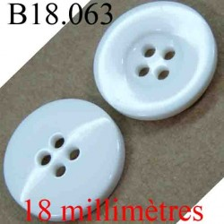 bouton 18 mm couleur blanc brillant 4 trous diamètre 18 mm