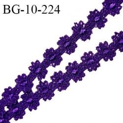 Galon ruban guipure motif fleurs couleur violet largeur 10 mm prix au mètre