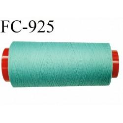 Cone 2000 m de fil mousse polyamide fil n° 120 couleur vert lagon  longueur du cone 2000 mètres bobiné en France