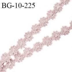 Galon ruban guipure motif fleurs couleur gris rose largeur 10 mm prix au mètre