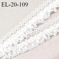 Elastique 20 mm froufrou dentelle couleur blanc largeur de la bande élastique 5 mm élastique souple prix au mètre