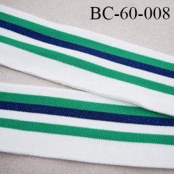 Bord-Côte 60 mm bord cote jersey maille synthétique couleur naturel vert et bleu marine pailleté largeur 60 mm longueur 130 cm