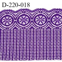 Dentelle 22 cm lycra extensible très haut de gamme largeur 22 cm couleur violet fabriqué en France bandes jacquard prix au mètre
