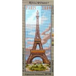 Canevas à broder 25 x 60 cm marque ROYAL PARIS thème LA TOUR EIFFEL fabrication française