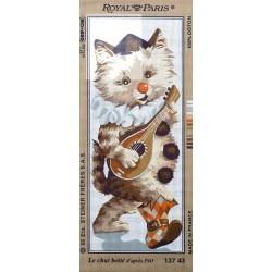 Canevas à broder 25 x 60 cm marque ROYAL PARIS thème le chat botté d'après Pio fabrication française