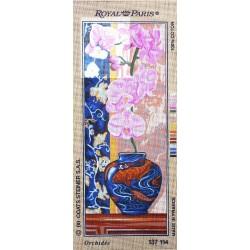 Canevas à broder 25 x 60 cm marque ROYAL PARIS thème orchidée fabrication française